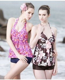 Brown Floral Patterned Tankini Maillots de bain (Gauche)