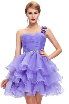 Robe de cocktail en organza multicouche dos nu lacets