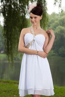 Robe de graduation empire en mousseline une bretelle genou